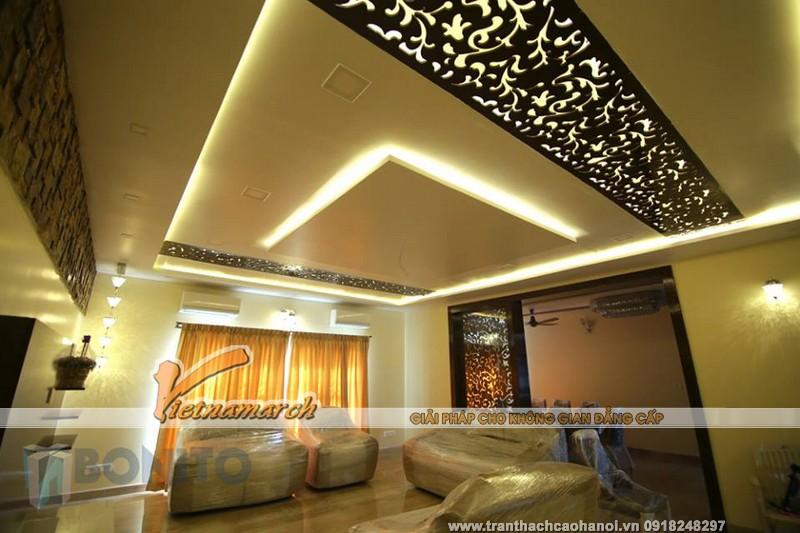 Mẫu trần thạch cao phòng khách đẹp lung linh khi kết hợp cùng ánh sáng đèn led