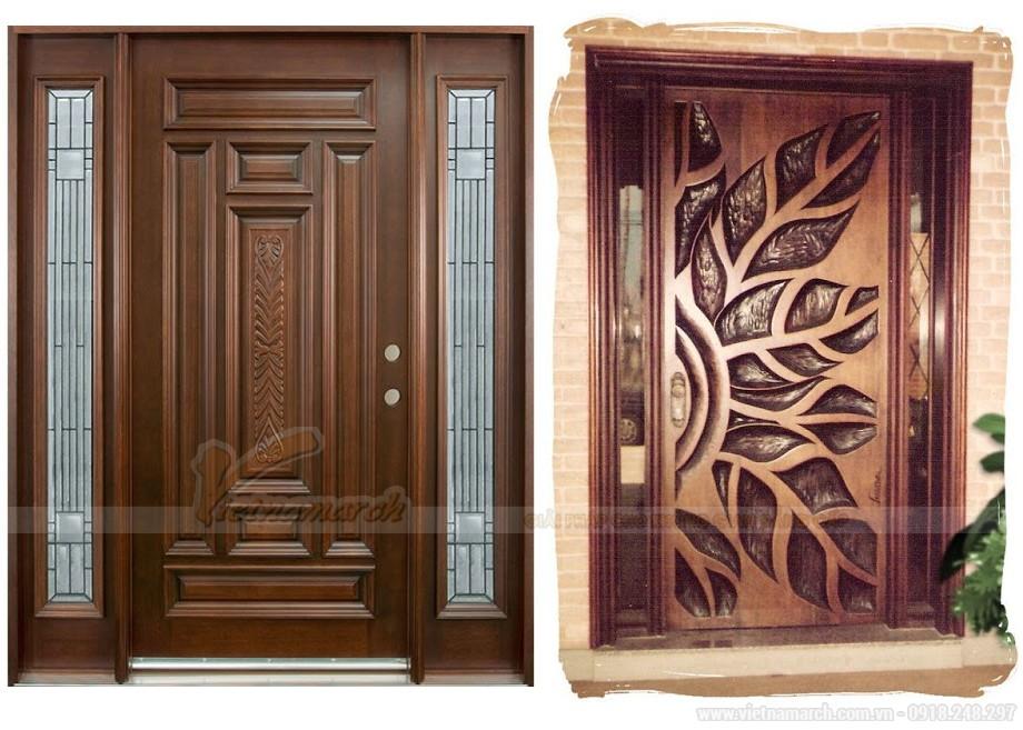 Mẫu cửa gỗ họa tiết hoa lá rất tinh tế