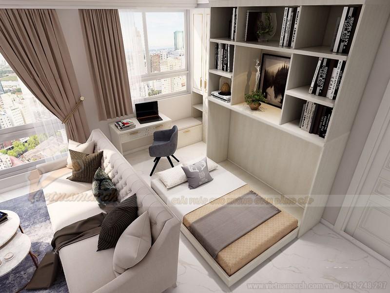 Phòng khách liền phòng làm việc với nội thất thông minh