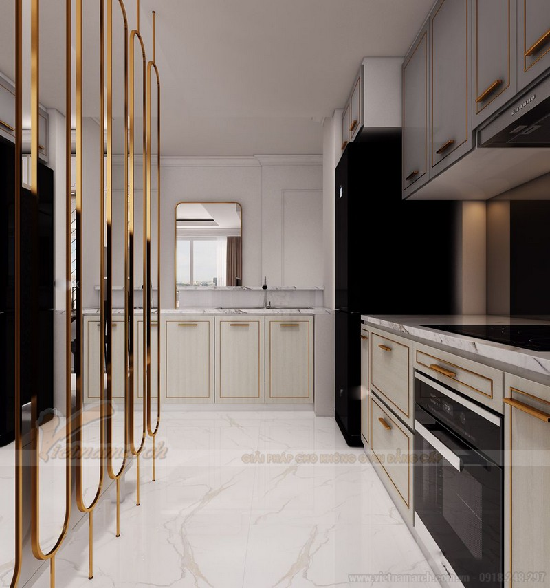 Tủ bếp chữ L sang trọng, đẳng cấp phong cách tân cổ điển