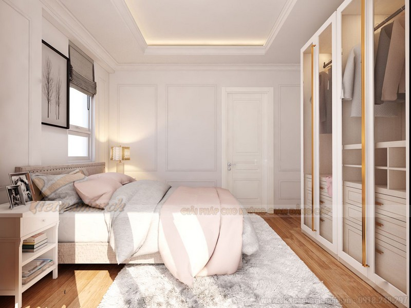 Nội thất phòng ngủ tấn cổ điển nhà chung cư 60m2