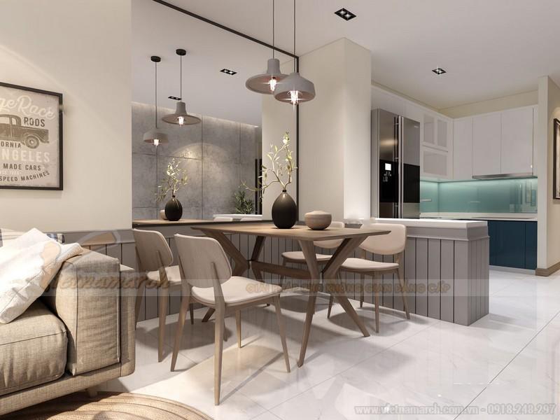 Nội thất phòng bếp và phòng ăn nhà chung cư 60m2