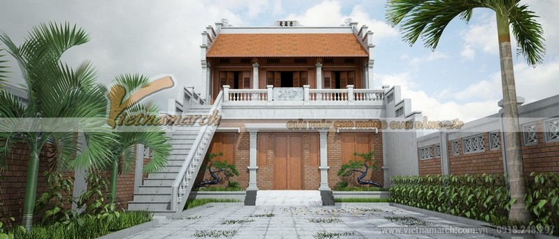 Nhà thờ họ 2 tầng 3 gian 2 mái đẹp tại Ứng Hòa - Hà Nội