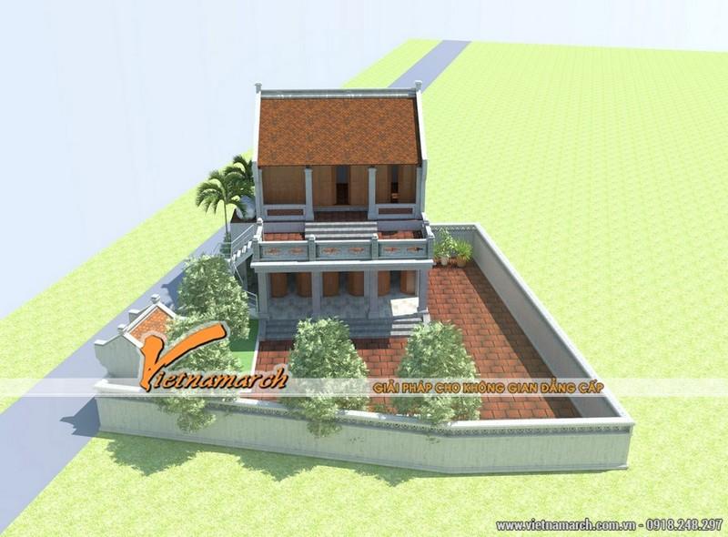 Mẫu nhà thờ họ 3 gian 2 mái với 2 tầng tại Bắc Ninh