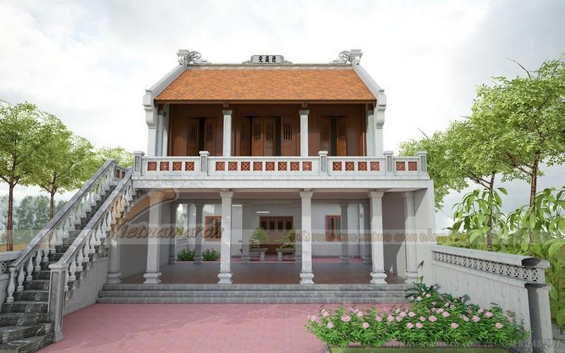 Mẫu nhà thờ họ 2 tầng 3 gian 2 mái tại Thái Bình
