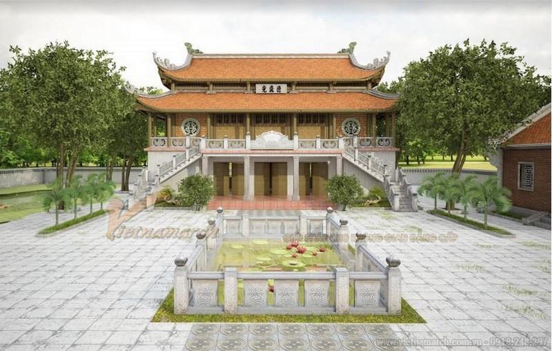 Mẫu thiết kế nhà thờ họ 2 tầng 8 mái tại Bắc Giang