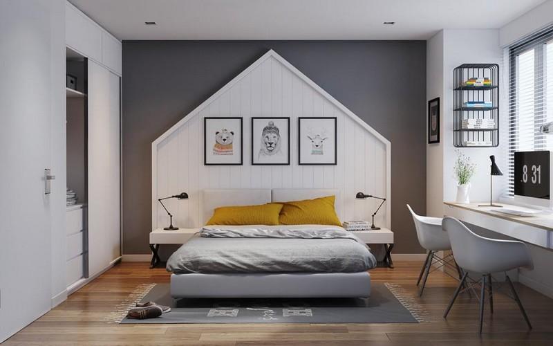 Trần thạch cao phòng ngủ nhà chung cư dạng phẳng đẹp