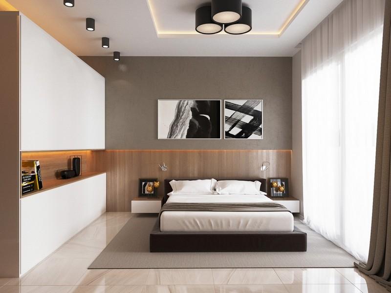 Trần thạch cao phòng ngủ nhà chung cư hiện đại