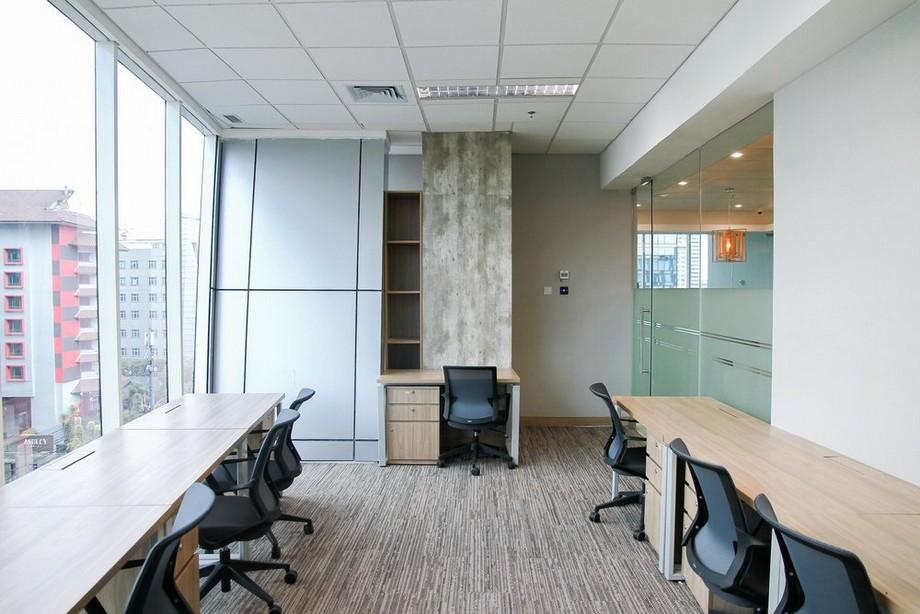 Mẫu thiết kế phòng làm việc trong không gian làm việc chung cho 7 người