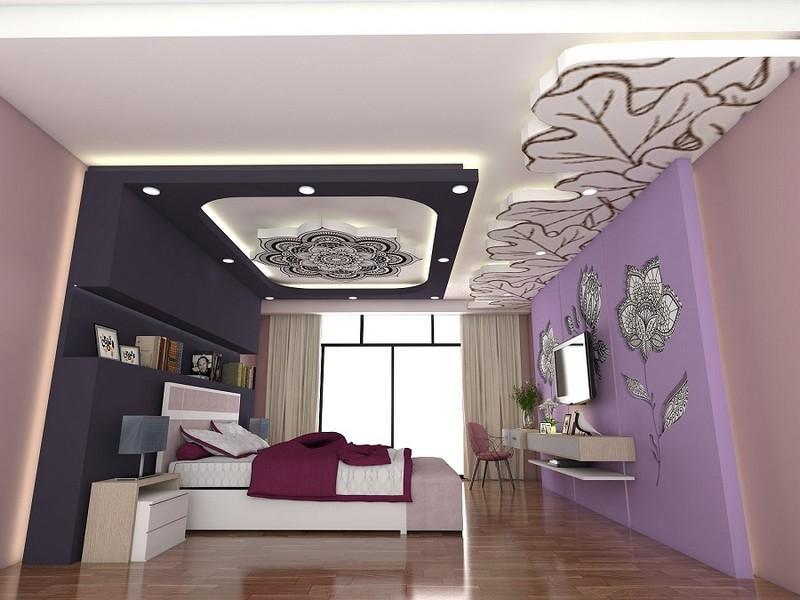 Trần thạch cao uốn lượn cho phòng ngủ họa tiết hình bông hoa ấn tượng