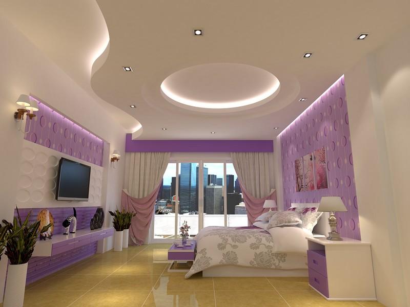 Trần thạch cao uốn lượn cho phòng ngủ vợ chồng kiểu dáng hiện đại