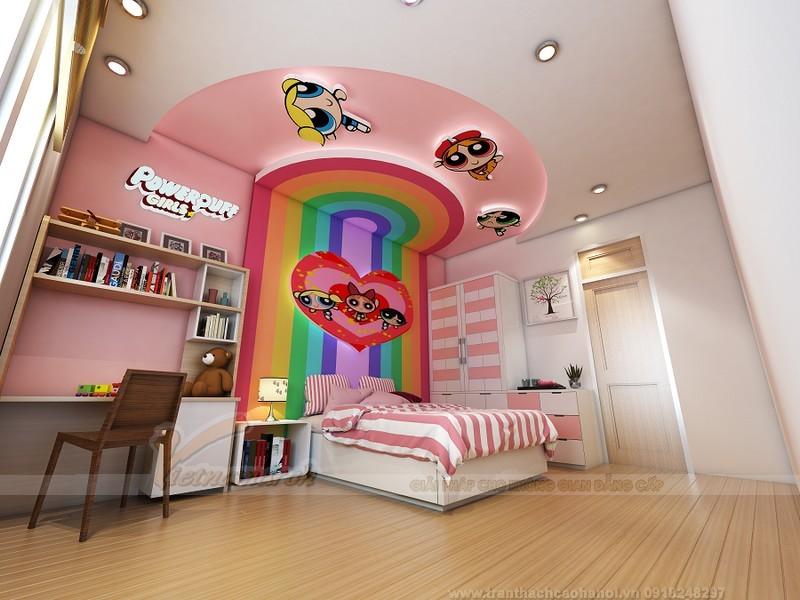 Trần thạch cao uốn lượn cho phòng ngủ trẻ em nhiều màu sắc ngộ nghĩnh
