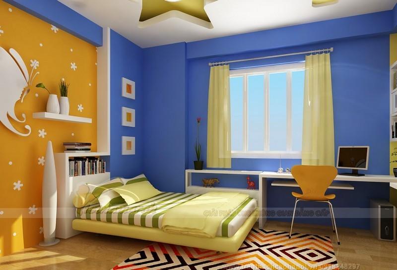 Trần thạch cao uốn lượn cho phòng ngủ trẻm em hình ngôi sao
