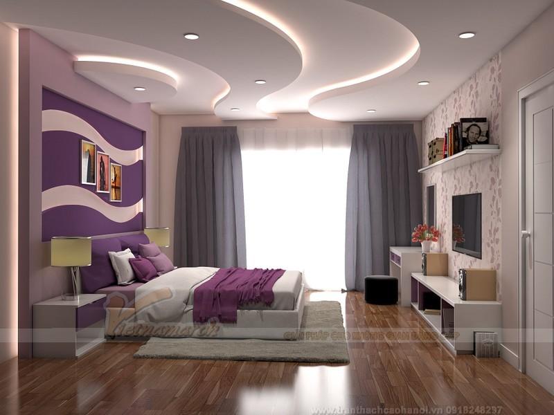 Trần thạch cao uốn lượn cho phòng ngủ 2 tần bậc đẹp mắt