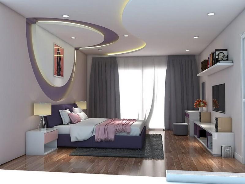 Trần thạch cao uốn lượn cho phòng ngủ