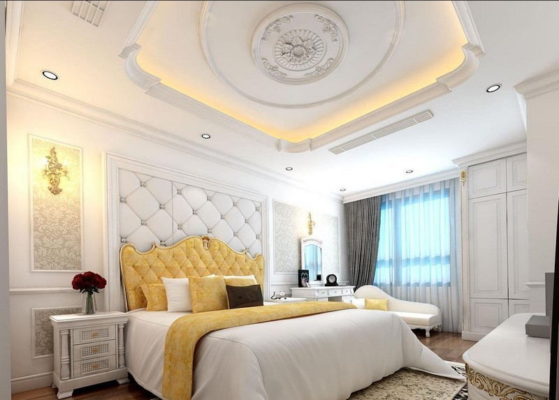 Trần thạch cao uốn lượn cho phòng ngủ tân cổ điển tinh xảo