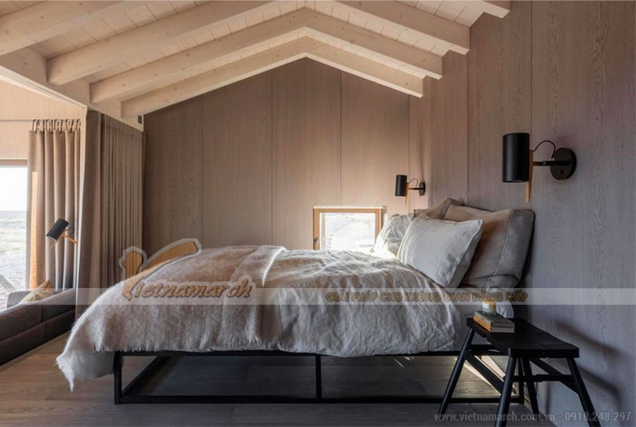 Thiết kế phòng ngủ đẹp với trần gỗ