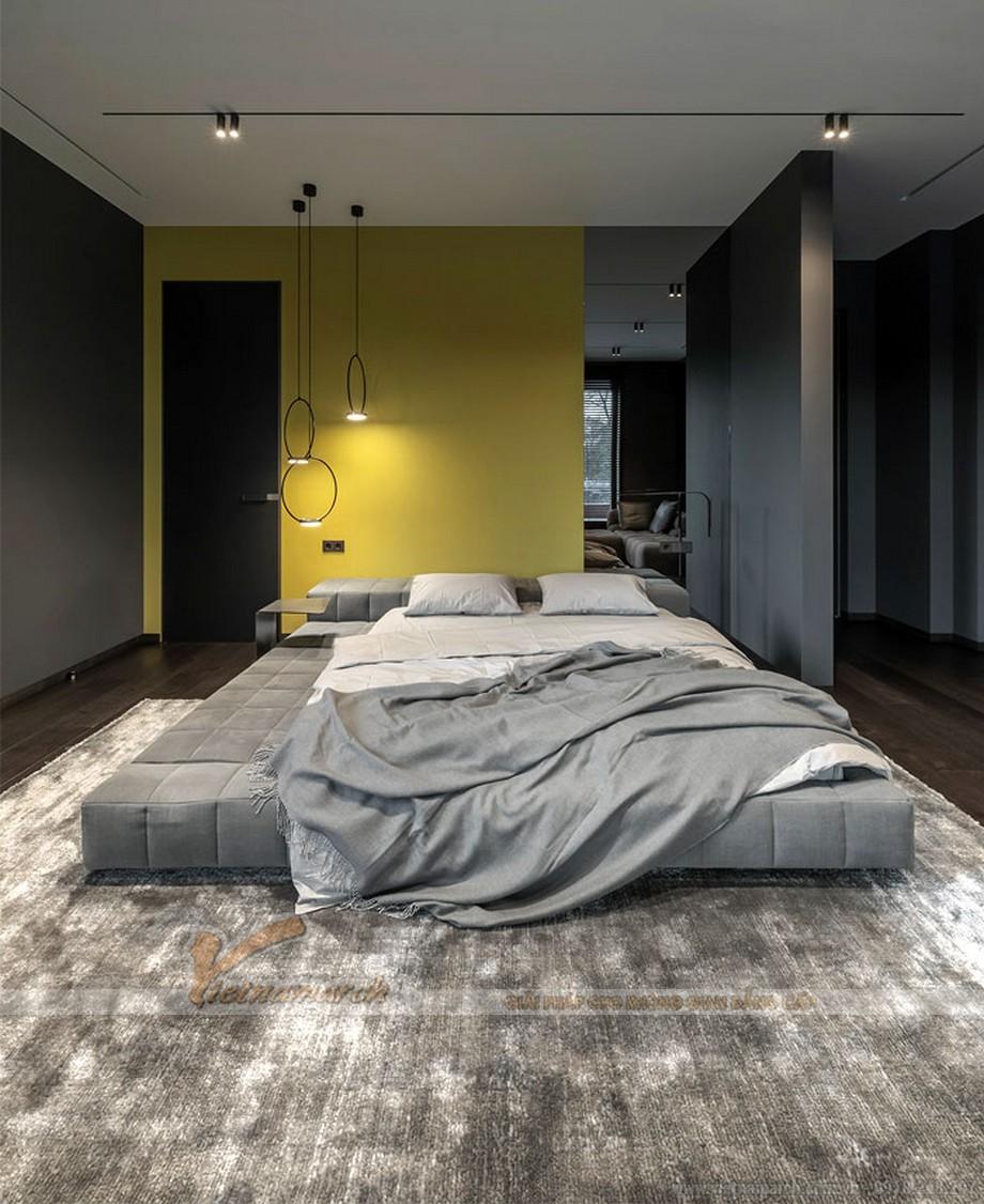 Phòng ngủ tối giản với gam màu đơn sắc