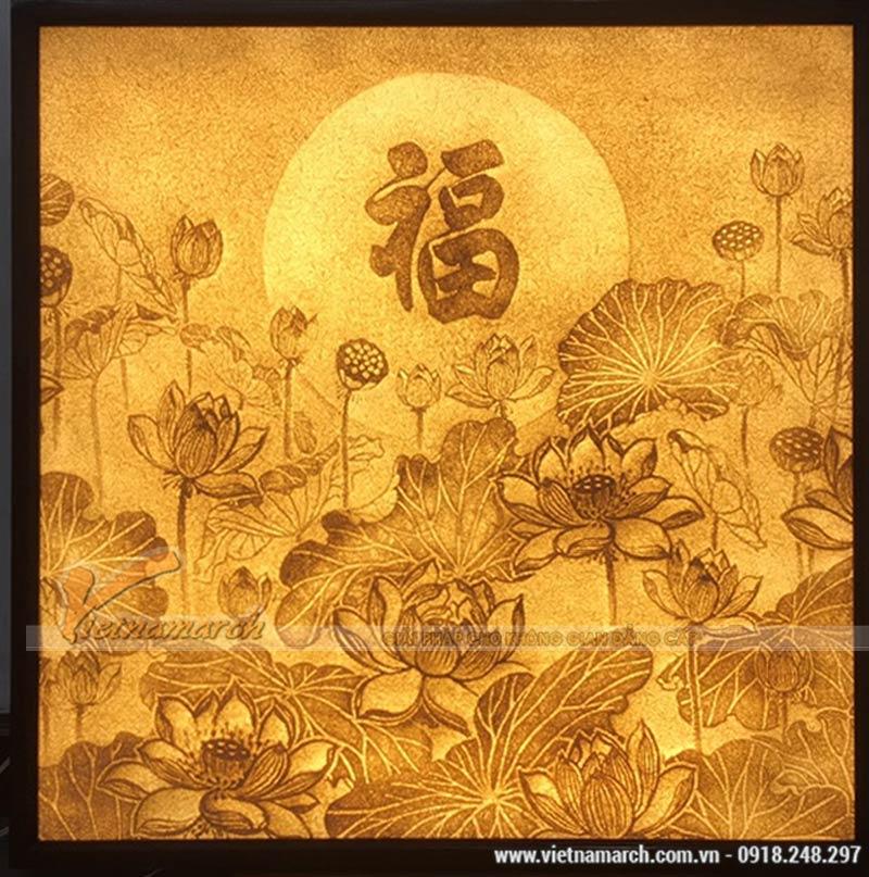 Tranh giấy dừa hoa sen